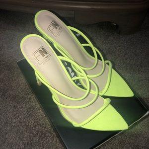 Neon yellow heels fashion nova